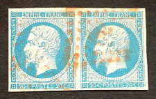 timbre france, n°14, 20c bleu empire, Obl rouge, cote 360e