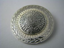 HANDCRAFTED STERLING SILVER BROOCH PIN PENDANT Mayan Aztec Calendar Taxco Mexico