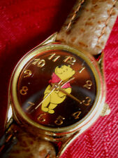 RARE BROWN FACE POOH LADIES WATCH /GOLD TONE