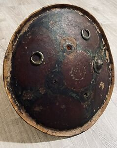 authentic Indian/India hide Dhal shield antique 19th c 1800s rajput warrior