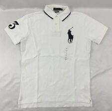 Ralph Lauren Men Custom Fit Polo Shirt Number 3 Patch White Size M