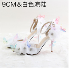 Bride Wedding Shoes High Heels Rhinestones Lady White Butterfly Floral Shoes Hot