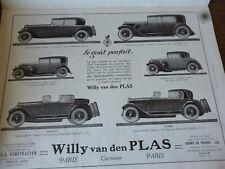 WILLY VAN DEN PLAS B voiture publicité papier ILLUSTRATION 1926