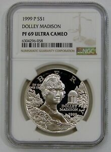 1999 P Dolley Madison Proof Commemorative Silver Dollar NGC PF 69 Ultra Cameo