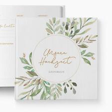 Gästebuch Hochzeit | Fragen | Wild Leaves | personalisiert | Blumen Blätter Boho