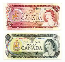 2 different Canada paper money $1 1973 Au-Unc. & $2 1974 Au-Unc.