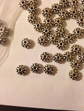50 Pieces 6mm Fancy Flower Rondell Bali Style Pewter Beads L@@K SALE #110
