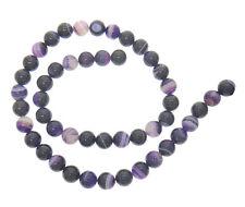 Achat Edelstein Perlen 8mm Strang Lila Violett mit Maserung Kugeln rund