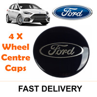4x BLACK FORD FITS MOST MODELS 54MM ALLOY WHEEL CENTRE CAPS FOCUS FIESTA KA KUGA