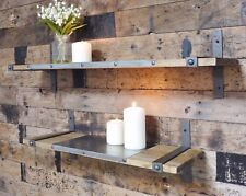Set Of Two Shelves Industrial Rustic Warehouse Style Wooden