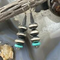 Sophia Becenti Sterling Silver Navajo Pearl and Turquoise Disc Dangle Earrings