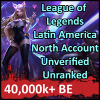 League of Legends Unranked Account LAN LOL Smurf 40,000+ BE Level 30