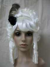 Deluxe Marie Antoinette Costume Wig Bangs Colonial Drag w/ Feather Flower Beads