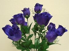 """Rose Buds Bush 14 Artificial Flowers 19"""" Bouquet 265"""