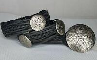 "Concho Belt - Braided Black Leather - WCM New York Silver Tone  Size L 35"""