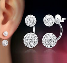 925 Sterling Silver Crystal Double Beads Shamballa Wedding Stud Earrings 12mm
