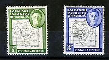 FALKLAND ISLANDS DEPENDENCIES KG VI 1948 Fine Print Map SG G9 & SG G12 MINT