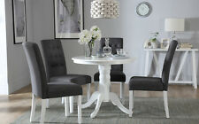 Kingston Round White Dining Room Table & 4 Regent Fabric Chairs Set - Slate