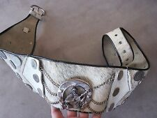 VINTAGE ARGENTINA COINS COW HORSESHOE METAL BUCKLE 20S 60S COWBOY HUGE WIDE BELT