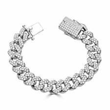 Pulsera para hombre eslabón cubano de Miami Real Icy sólido de plata 925 15mm Pesado Helado Diamante