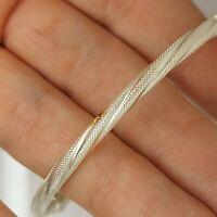 Solid sterling silver 925 bracelet bangle 8 inches pretty pattern  Az342-10