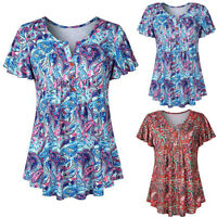 Women Floral Swing Short Sleeve Tunic Tops Blouses Loose Plus V Neck T-Shirt Tee