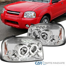 For Nissan 01-04 Frontier Clear LED DRL Halo Projector Headlights Head Lamps