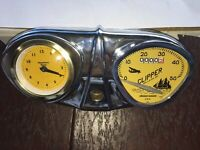 Bicycle Speedometer with Clock Stewart Warner cool accessory w/  GOLD FACE Clock