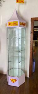 German Steiff Bear Logo Lighted Glass Curio Display Locking Collector Cabinet
