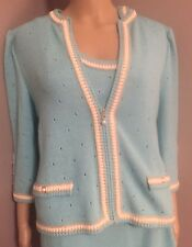 Turquoise Sweater with pearl buttons by St. John Collection sz 8
