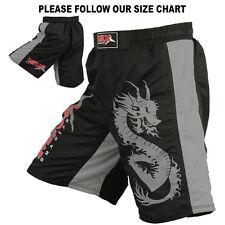 MMA Shorts Grappling UFC Boxing Mix Fight Short Kick Dragon Grey/Black, Medium