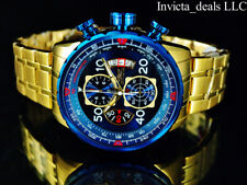 Invicta Men 48mm Aviator Chronograph Blue Dial 18K Gold Plated SS Bracelet Watch