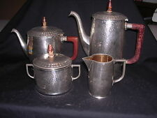 VTG WMF Coffee & Tea Set with Creamer and Sugar Bowl Copper Lined and Free Ship