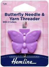 Butterfly Needle and Yarn Threader with 2 Cutters in Purple