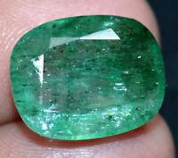 8.85 Ct Natural Green Zambia Emerald AGSL Certified Cushion Cut Best Quality Gem