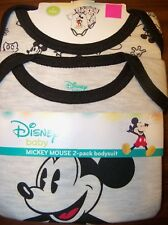3a9f72676 Disney Mickey Mouse 2 Pk One Piece Bodysuit Infant Baby Boy Size 0-3 Months