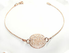 Estilo celebridad obra abierta Círculo Pulsera 18K Rosa oro sobre plata esterlina.