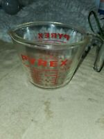 Vintage Pyrex Glass 1 Cup 8 Oz Measuring Cup Red Letters Standard & Metric 508