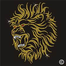 LION Rhinestone Diamante Crystal Motif Transfer Iron On Hotfix Applique Patch