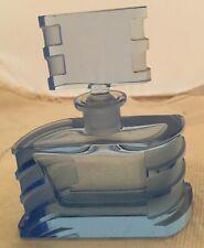 Vintage Art Deco Geometric Blue Crystal Perfume Bottle Signed Czechoslovakia