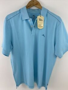 NWT $89 TOMMY BAHAMA SZ M Men's S/S Turquoise BLUE EASY CARE Wicking Polo Shirt