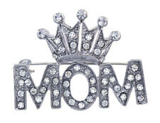 Clear Crystal Crown Tiara Queen Mom Brooch Pin Mother's Day Birthday Gift