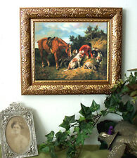 Emms DIGGING OUT Fox Hunt Hound Dog Horse Print Vintage Style Framed 11X13