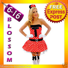 F61 Ladies Minnie Mickey Mouse Fancy Dress Halloween Disney Theme Costume & Ears
