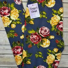 Gray Floral Rose Leggings Red Yellow Roses Printed Buttery Soft ONE SIZE OS 2-10