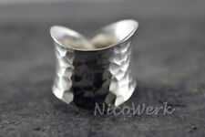 Silberring Vintage Breit Gehämmert Ring Silber 925 Verstellbar Offen Damenringe