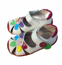 Pediped Girl Daisy Sandals White Red Hook Loop Applique 6-6.5 EUR 22 Rubber Sole