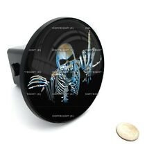"""2"""" Tow Hitch Receiver Cover Insert Plug for Most Truck & SUV SKULL MIDDLE FINGER"""