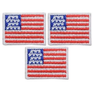 """Mini American Flag Applique Patch - USA United States Badge 1"""" (3-Pack, Iron on)"""