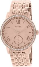 New Guess Ladies U0573L3 Round Dial Crystals Stainless Rosegold IP Band Watch